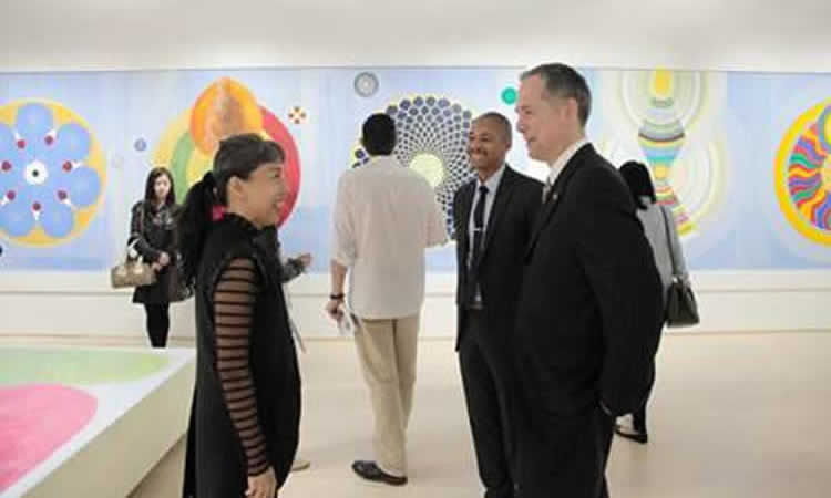 Consul General Hart, Public Diplomacy Officer Tau Shanklin Roberts and artist Emily Cheng (State Dept.)