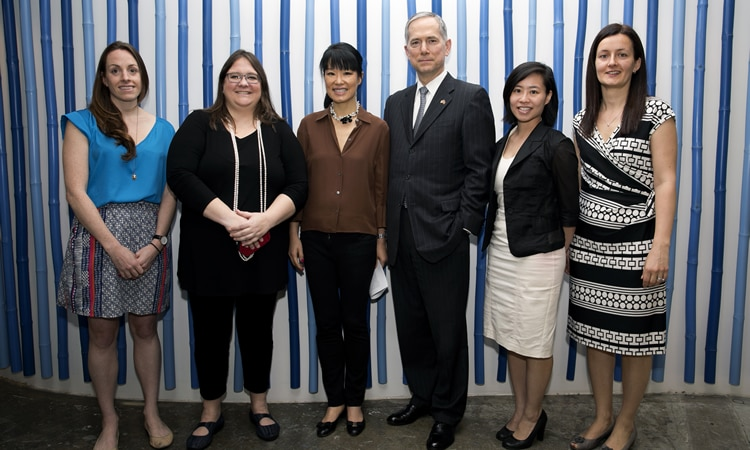 Hilary Szymujko, Joy Anderson, Su-Mei Thompson, Consul General Hart, Xania Wong and Karola H. Szovati (State Dept.)