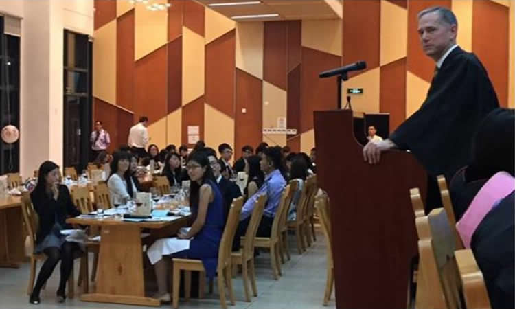 Consul General Hart at Choi Kai Yau College (CKYC) at the University of Macau (State Dept.)