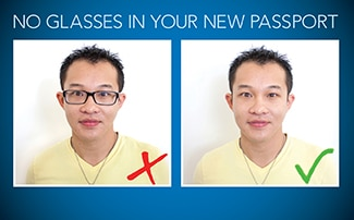 No glasses in your new passport (State Dept.)