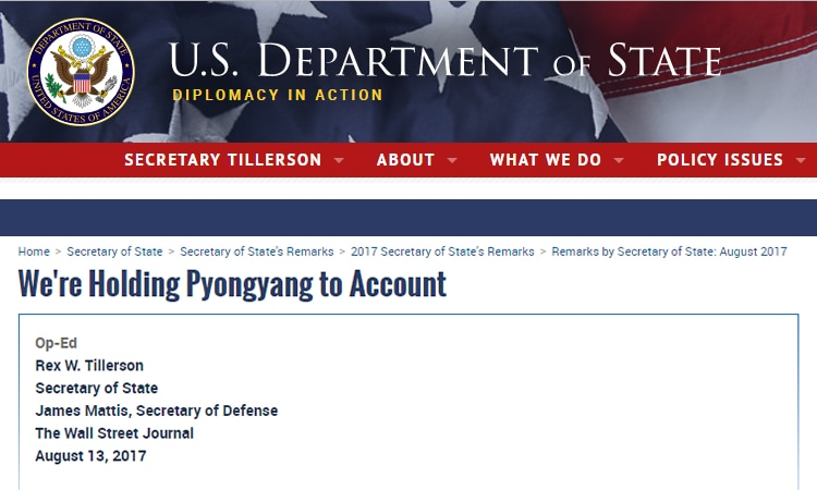 We're Holding Pyongyang to Account (State Dept.)