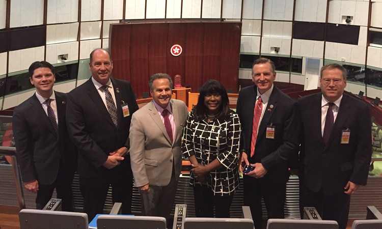 (From left to right): Staff Committee Director Hunter Strupp, Representative Ted Yoho (R-FL), Representative David Cicilline (D-RI), Representative Terri Sewell (D-AL), Representative Paul Gosar (R-AZ), Consul General Kurt Tong. (State Dept.)
