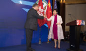 Consul General Tong toasted with Chief Executive Carrie Lam. (State Dept.)
