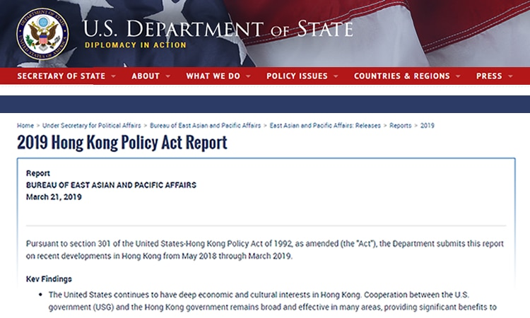 2019 Hong Kong Policy Act Report (State Dept.) (State Dept.